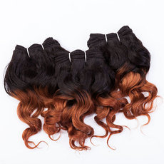 EVET Virgin Human Hair Weaves Ombre Curly Hair Extensions Two Tone Brazilian Curly Hair Extensions