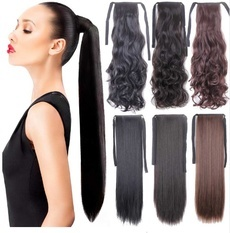 Fake Hair Ponytail Long Straight Hair Pieces Synthetic Hair 105g 22Hairpiece Clip In Pony Tail Ponytail apply Multicolor