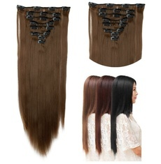 Straight Full Head Clip in Hair extensions Color Hair Blue Purple Pink Blonde Brown Gray Synthetic Hair