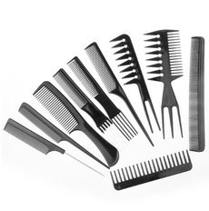 10pcs/set Professional Salon Combs Set Black Plastic Barbers Hair Styling Tools Hairdressing Salon Free Shipping
